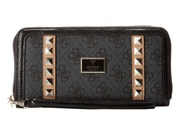 Guess Logo Remix Large Zip Around Coal 2 Clutch Handbags Black