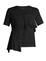 Simone Rocha Short Sleeved Gathered Panel Cotton T Shirt Black