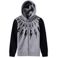 Neil Barrett Fair Isle Bolt Print Contrast Hoody Grey