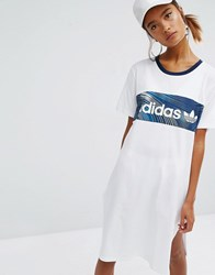 Adidas Originals Geology Print Block T Shirt Dress White