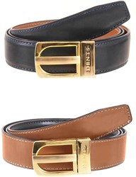 Dents Reversible Leather Belt Navy Tan