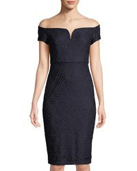 Guess Off The Shoulder Lace Midi Dress Navy