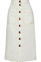 Nicholas Woman Button Detailed Linen Midi Skirt Ivory