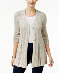 Styleandco. Style Co. Petite Pointelle Flare Hem Cardigan Only At Macy's Natural Heather Combo