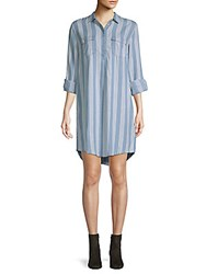 Saks Fifth Avenue Striped Long Sleeve Shirtdress Soft Army