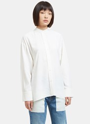 Helmut Lang Raw Side Tie Twill Tunic Shirt White