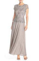Women's Pisarro Nights Embellished Mech And Chiffon Gown Silver