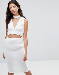 Girl In Mind Liana Mesh Cut Out Choker Dress White