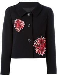 Boutique Moschino Floral Embroidery Cropped Jacket Black