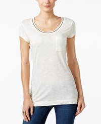 Calvin Klein Jeans Embellished Scoop Neck T Shirt Stream