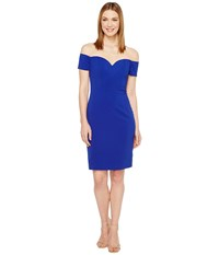 Badgley Mischka Off The Shoulder Cocktail Dress In Stretch Crepe Electric Blue Women's Dress