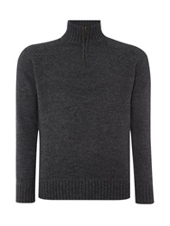 Howick Oakfield 100 Lambswool Funnel Neck Charcoal