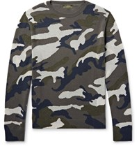 Valentino Camouflage Intarsia Cashmere Blend Sweater Gray