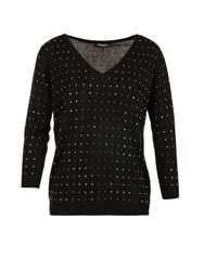 Morgan Square Studded Fine Knit Sweater Black