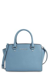Michael Michael Kors 'Selma Medium' Zip Top Satchel Blue Ski Silver