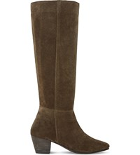 Dune Tarry Knee High Stretch Suede Boots Khaki Suede