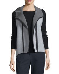 Elie Tahari Margie Hooded Knit Vest Light Medium Gray Light Grey