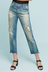 Anthropologie Ag Phoebe Ultra High Rise Straight Cropped Jeans Denim Medium Blue