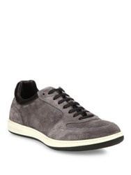 Giorgio Armani Suede And Calf Leather Low Top Sneakers Beige