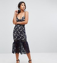 Missguided Lace Fishtail Hem Midi Dress Navy