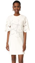 Victoria Beckham Lace Embroidered Shift Dress Ivory