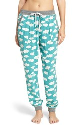 Kensie Women's Jogger Pajama Pants Teal Clouds