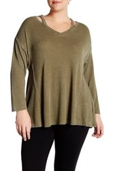 Olivia Sky Long Sleeve Thermal Sweater Plus Size Green