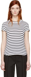 Frame Denim White Striped Classic Crew T Shirt