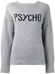 Olympia Le Tan Slogan Cashmere Sweater Cashmere S Grey
