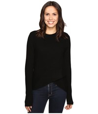 Christin Michaels Louisa Cross Front Crew Neck Cashmere Sweater Black Women's Sweater