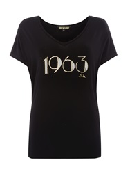 Biba 1963 Slogan Relaxed V Neck Tee Black