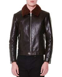 Alexander Mcqueen Leather Jacket With Removable Fur Collar Brown Men's