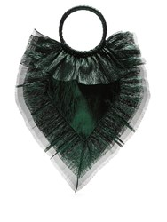 The Vampire's Wife Ruffle Trimmed Woven Clutch Green