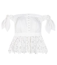 Self Portrait Off The Shoulder Lace Bustier Top White