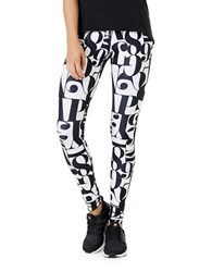 Mpg Julianne Hough Revitalize Abstract Printed Leggings Typo Blackout