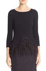 Carolina Herrera Women's Sequin And Feather Trim Wool Sweater
