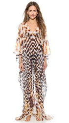 Lotta Stensson Slit Maxi Poncho Gold Feather