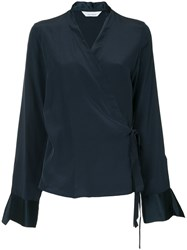 Kacey Devlin Wrap Blouse Blue