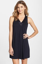Women's Midnight By Carole Hochman Charmeuse Trim Jersey Chemise Midnight Blue