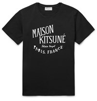 Maison Kitsune Printed Cotton T Shirt Black
