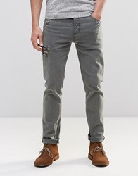 Asos Stretch Slim Jeans With Abrasions In Grey Grey