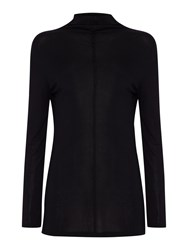 Oui Poloneck Knit With Front Seam Detail Black