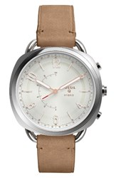 Fossil Q Women's Accomplice Smart Leather Strap Watch 38Mm Sand White Rose Gold