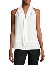 Laundry By Shelli Segal Layered Self Tie Top White