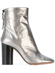 Isabel Marant Grover Crinkle Ankle Boots Women Leather 40 Metallic