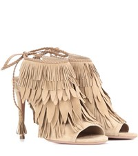 Aquazzura So Pocahontas 105 Suede Sandals Beige
