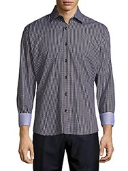 Bertigo Graphic Cotton Button Down Shirt Black