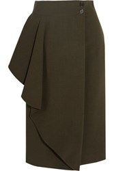 Alexander Mcqueen Draped Stretch Crepe Wrap Skirt Army Green