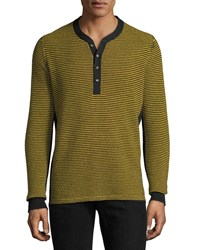 Ovadia And Sons Zack Striped Henley Shirt Black Gold