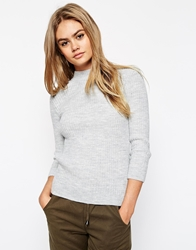 Asos Turtle Neck Jumper In Rib Grey